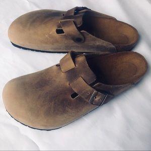 Birkenstock Brown leather clogs like NEW 12